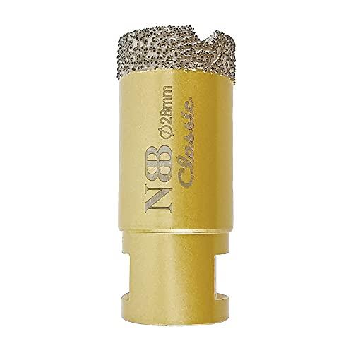 NBB Broca de diamante con M14, corona diamante para taladrar en seco y en húmedo profesionalmente en porcelana dura, cerámica, baldosas, granito, mármol, azulejo, para Amoladora Angular (1, 28mm)