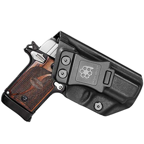Amberide IWB KYDEX Holster Fit: Sig Sauer P938 Pistol | Inside Waistband | Adjustable Cant | US KYDEX Made (Black, Left Hand Draw (IWB))