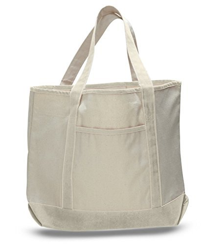 Large Canvas Tote Bags, Sturdy Heavy Duty Cotton Canvas Totes, Stylish Beach Bag, With Outer Pocket Zippered Inner Pocket Tote, Reusable Bag, Versatile Fancy Totes (Natural)
