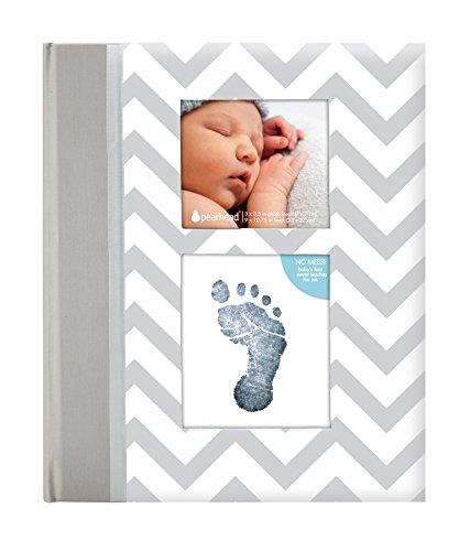 Pearhead p62209 de Livre de rappel avec encres propres Imprimé Coussin pour Bébé Zigzag, pour obtenir Main ou Paillasson la pression du Enfant, Gris