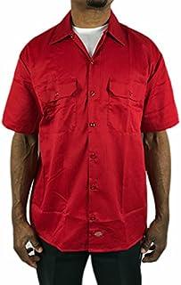 ディッキーズ 半袖 ワークシャツ Dickes 赤 レッド メンズ 男女兼用 大きい ボタンダウン sb39