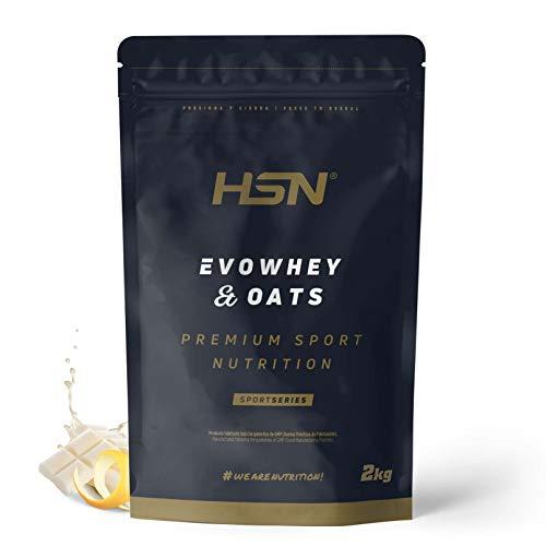 Evowhey & Oats de HSN   Proteína Whey Harina de Avena   Ideal para Desayunos o Meriendas   Bajo en Azúcar, Apto Vegetarianos, Sin Soja, Sabor Chocolate Blanco y Limón, 2Kg