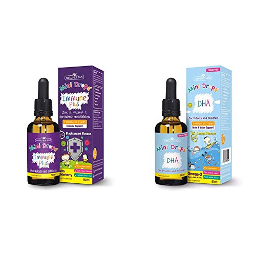 Natures Aid Immune Plus Mini Drops for Infants and Children, No Added Sugar, 50 ml with Omega-3 Drops for Sugar Free, 50 ml with Cognitive Development, 50 ml