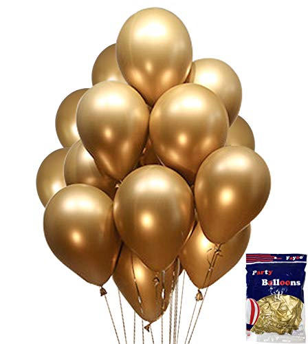 Fayoo Gold Balloons, 12'' Gold Metallic Latex Party Balloons for Party Decorations, Baby Shower, Christmas Decorations, Birthdays, Bridal Shower, Valentine's Day, Graduation 50 PCS