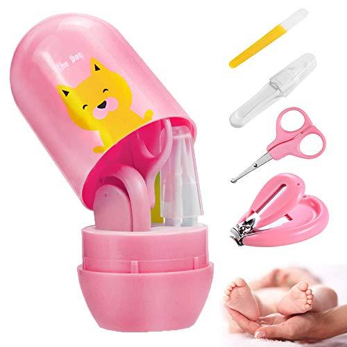 Babypflege Set mit Baby Nagelschere, für Fingernägel und Fußnägel mit Nagelknipser, Nagelschere, Nagelfeile und Pinzette für Kinder und Neugeborene in Geschenk-Verpackung (Rosa)