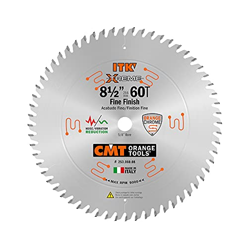 CMT 253.060.08 ITK Industrial Finish Sliding Compound Miter Saw Blade, 8-1/2-Inch x 60 Teeth 1FTG+2ATB Grind with...