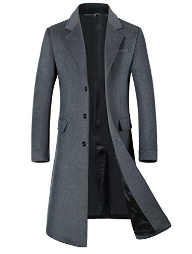 Mordenmiss Men's Long Slim Peacoat Winter Business Wool Blazer Gentlemen Trench Coat Style 2 M Gray