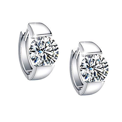 Sterling Silver Huggie Earrings, Small Fine Cuff Earrings Cubic Zirconia Platinum Plated Silver Hoop Earrings For Women Teen Girls Gift