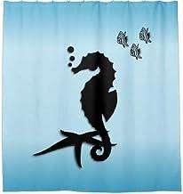 Seahorse Blue Bathroom Accessory Shower Curtain for Bathroom, Bath Decor, Bright Fabric Bath Curtain, Shower Curtain with ...