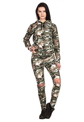 Army 2-delig Wasted Look Leg Hoodie Camouflage Army Militair Legers Vrijetijdspak tweedelig Overall Jumpsuit