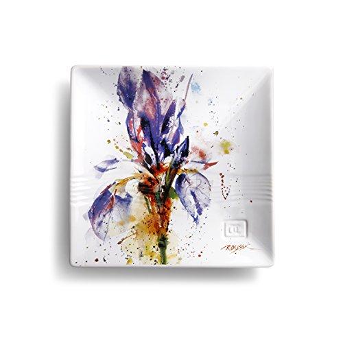 Demdaco Dean Crouser Watercolor 7 x 7 Ceramic Stoneware Decorative Snack Plate (Iris Flower)