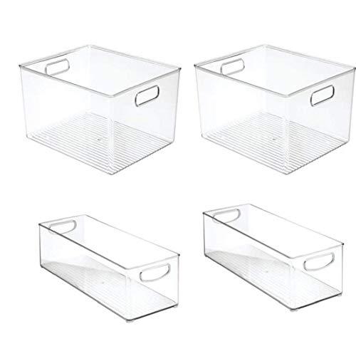 jieerrui REFRIGERADOR Organizador Congelación de Almacenamiento Caja del cajón de plástico de Cocina extraíble Recipiente Transparente con Asas para almacenar latas Producir, Pasta 4PCS