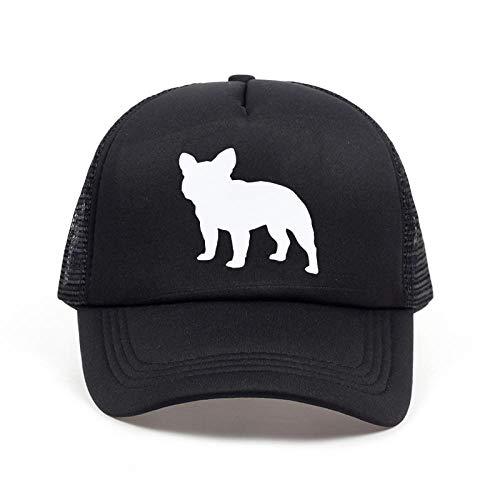 Kappe New French Bulldog Letters Print Baseballmütze Trucker Hut für Frauen Männer Unisex Mesh Einstellbare Größe Schwarz Weiß Drop Ship Schwarz