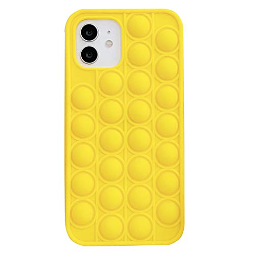 Yaobuyao Fidget Toys Thone Case, Funda Pop Phone Push Pot Bubble Pop Bubble Protecive Funda para Iphone7,8,7P, 8P, X, XS, XS MAX, XR, 11,11Pro, 12,12Pro, 12Pro MAX,Amarillo,iPhone6.7.8