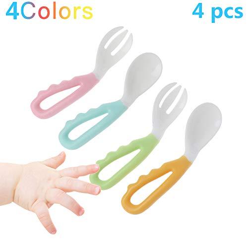 Conjunto de cuchara y tenedor para bebé, arnés para niños fácil de mantener, esterilizable,silicona blanda para dosis aprender,sensible a la temperatura flexible para niños recién nacidos BPA gratis