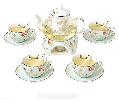Tea Cup Set, Coffee Cups Set Ceramic Flower Tea Set &Tea Gift Box, Heat-Resistant Safe Glass Teapot Porcelain Lid, Tea Warmer, Loose Tea Infuser & 4 Tea Cups, Afternoon Tea for Family Friend Tea Cup a