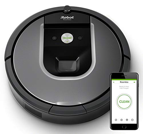 iRobot Roomba 960 Robot Aspirador, Succión 5 Veces Superior, Cepillos de Goma Antienredos, Sensores Dirt Detect, Wifi, Programable por App, compatible Alexa, Gris