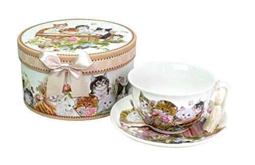 Lightahead Elegante Cappuccino-Kaffeetasse und Untertasse aus feinem Porzellan, mit Katzenmotiv, 284 ml, in attraktiver Geschenkbox