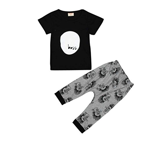kingko® 1Réglez Infant Bébés garçons filles Lettre Imprimer manches courtes T-shirt Tops + Pantalons Tenues Vêtements (24M)