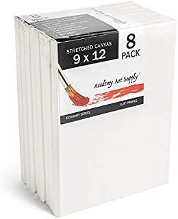 """Academy Art Supply 9x12"""" Stretched White Blank Canvas, Value Pack of 8, Primed, 100% Cotton for Painting, Acrylic Pouring, Oil Paint & Wet Art Media, Canvases for Artist"""