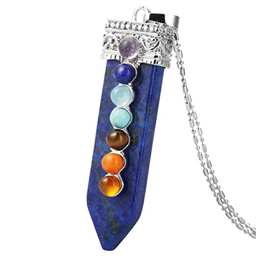 TUMBEELLUWA 7 Chakra Pendant Stone Necklace Sword Arrow Shape Healing Crystal Quartz Handmade Jewelry for Women,Lapis Lazuli