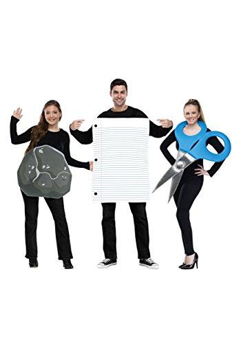 Disfraz grupal de piedra, papel y tijera para adultos - Estndar