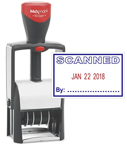 Heavy Duty Date Stamp with'Scanned' Self Inking Stamp - 2 Color Blue/Red Ink