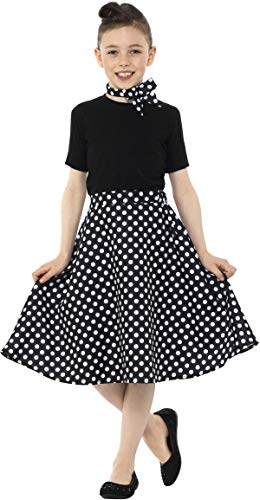 Smiffys 50th Rockabilly Mädchen Kleid Rock schwarz Kinderkostüm Karneval Mottoparty 50iger Jahre