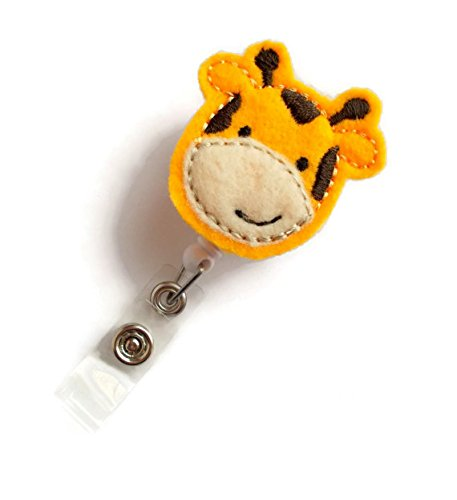 Jerry The Giraffe - Retractable ID Badge Reel - Name Badge Holder - Cute Badge Reel - Nurse Badge Holder - Nursing Badge Clip - Felt Badge