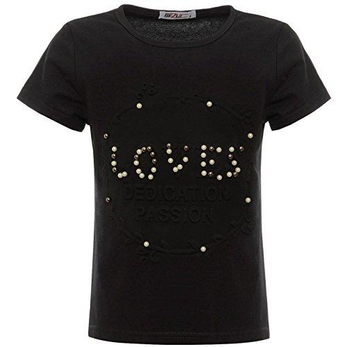 BEZLIT BEZLIT Mädchen Kinder Glitzer T-Shirt Oberteil Kunst-Perlen 22539 Schwarz 104