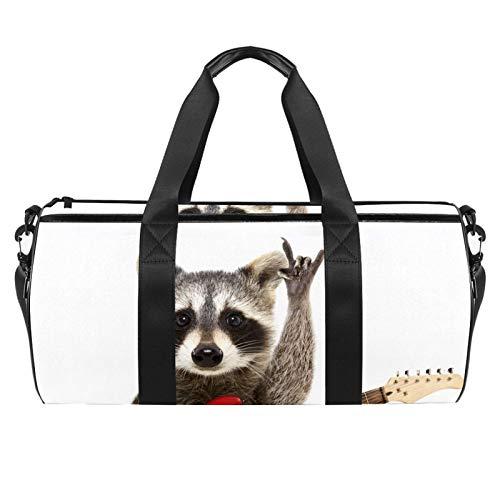 Rocking Racoon Sporttasche mit Gitarre, zylindrische Reisetasche, Reisetasche mit Nassfach, leichte Trainingstasche, Reisen mit Schultergurt für Männer und Frauen