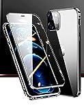 【最新アップグレード版】iPhone 12 Pro Max ケース アイフォン12プロマックス 対応 Uovon スマホケース カメラレンズ保護 アルミバンパー 両面ガラスケース 360 全面保護 クリアカバー・ブラック