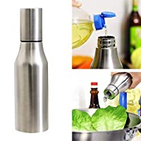 Fariox Stainless Steel Olive Oil Decanter, Oil/Vinegar/Sauce Dispenser Bottle with Dust-Proof Cover Leakproof, Durable Oil Pourer Bottles Olive Oil Container Pot Perfect for Kitchen & BBQ