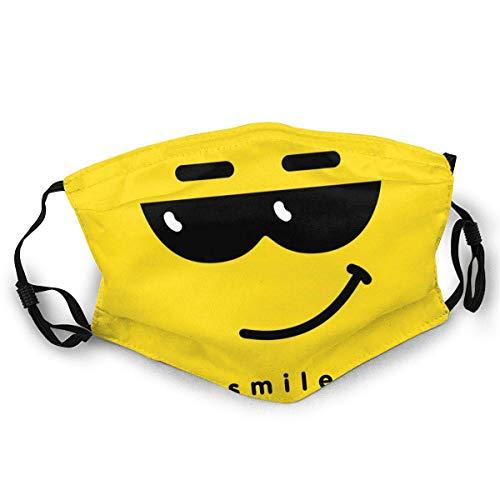 Emoticon Reutilizable Antipolvo a Prueba de Viento de Masque Cara con Cara Sonriente con Gafas de Sol oscuras Cómodo pasamontañas Transpirable para Mujeres Hombres