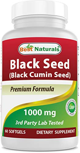 Best Naturals Black Seed Oil Capsules 1000 mg (Non-GMO) Nigella Sativa - 100% Cold Pressed Black Cumin Seed Oil Pills Contains Thymoquinonoe which Promotes Healthy Inflammatory Response 60 Count
