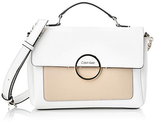 Calvin Klein - Disc Top Handle Md, Bolsos maletín Mujer, Blanco (White...
