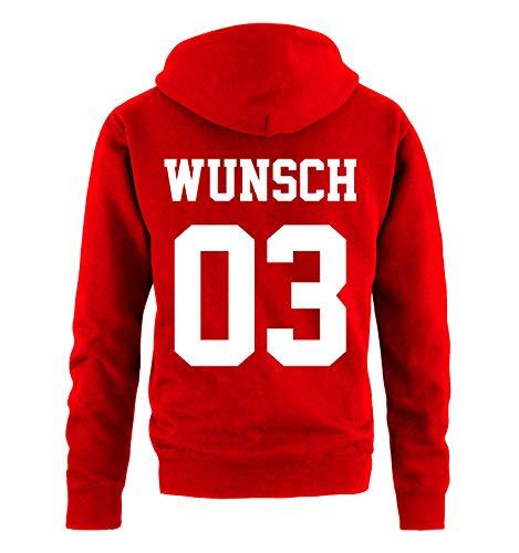 Comedy Shirts - Wunsch - Herren Hoodie - Rot/Weiss - Gr. S