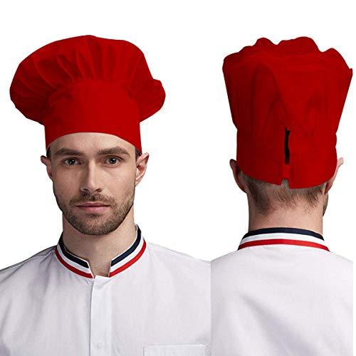 gorro de chef ajustable para adultos con elástico para cocinar, cocinar, cocinar, gorro de chef rosso