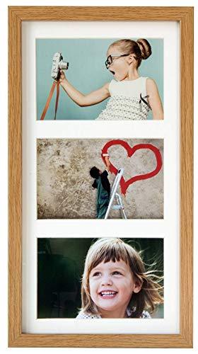 BD ART 18 x 35 cm Marcos de Fotos Multiple con paspartu per 3 Foto 10 x 15 cm, Roble