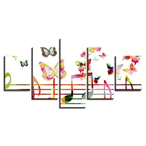 LWJPD leinwanddruck Dekorative Wohnwand Wandkunst 5 Stücke Hochauflösende Gedruckte Musiksymbole Und Schmetterling Leinwand Malerei Modulare Bilder 150cm