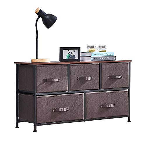 Buy Bargain QIHANG-US Drawer Dresser Closet with 5 Fabric Drawers Organizer Unit Storage with Steel...