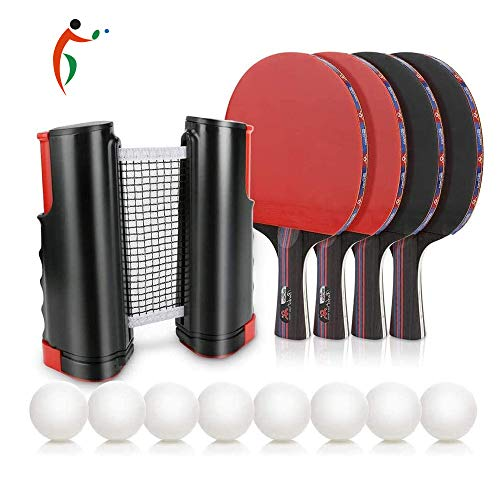 Best Bargain YZU Portable Table Tennis Set Pingpong Racket Game Set Professional Ping Pong Racket wi...