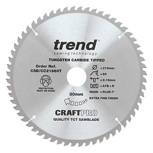 Trend CSB/CC21660T Craft Pro Positive Hook Crosscut TCT Hoja de sierra circular, punta de carburo de tungsteno, 216 mm x 60 dientes x 30 agujeros