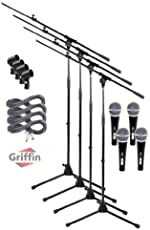Microphone Stand with Telescoping Boom Arm, 20 Ft XLR Cable | Handheld Dynamic Mic & Clip (Pack of 4) by Griffin | Pro-Audio Cardioid Singing Microphones for Studio Recording & Live Stage Performance