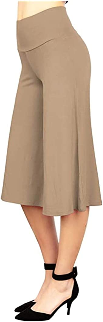 danni sheng Womens High Waist Casual Knit Capri Culottes Pants