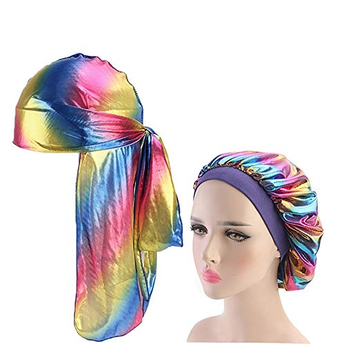 QCLU Unisex Silky Durag Long Tail and Wide Waves for Men Colorful Wide Doo Rag Bonnet Polyester Cap Comfortable Sleeping Hat (Color : 2pcs-Royal Blue)