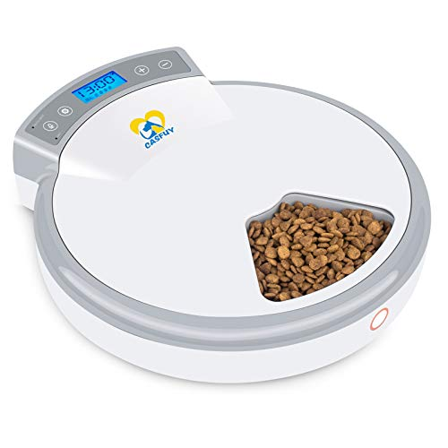 Casfuy 5-meals Automatic Cat Feeder - Auto Pet Feeder with Programmable Timer Dry and Wet Food Dispenser Voice Recorder & Speaker for Cat and Small Medium Dog Portion Control Dual Power Supply 5x240ml