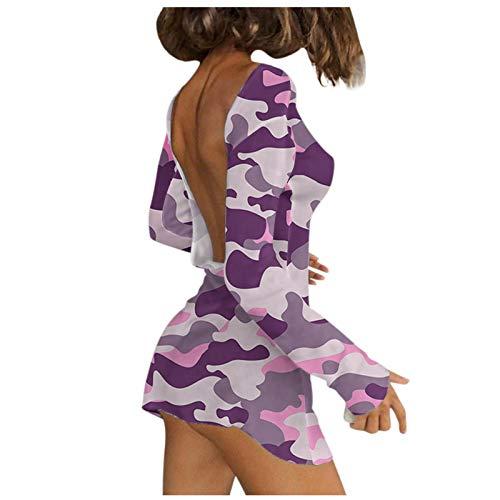 Xmiral Damen Kleid Mini Bodycon Langarm Rückenfrei Einfarbig/Drucken/Streifen Schulterfreies, Schlankes, Schmales Kleid(c-Lila,M)