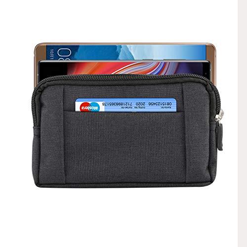 Herren Universal Denim Sport hängende Gürteltasche Handytasche Geldbörse für iPhone XS Max/XR/6S Plus,Galaxy S8/Note 9/J7/A8,Honor V10,HTC,Sony,LG (Black)