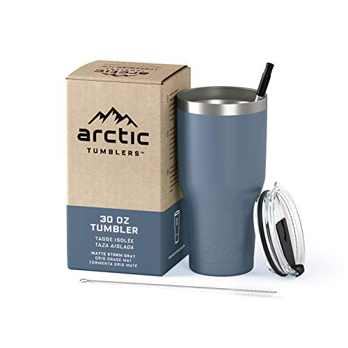 Arctic Tumblers Stainless Steel Camping & Travel Tumbler with Splash Proof Lid and Straw, Double Wall Vacuum Insulated, Premium Insulated Thermos (30 oz Tumbler, Storm Grey)